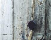 Red Garnet Gemstone Tassel Necklace Gold Filled Chain