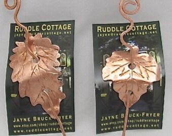 Copper Leaf Shawl Closure Pin.