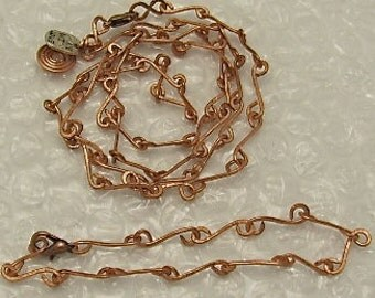 Copper Bracelets Set Matching Necklace. Handmade Chain. Copper Wire Bracelets. Copper Wire Necklace.ONSALE FOR MARCH.