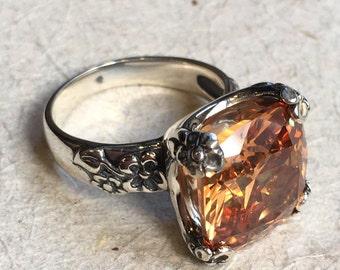 Cushion cut champagne quartz, engagement ring, Statement ring, large stone ring, alternative ring, rustic orange ring - Hello spring R2272-4