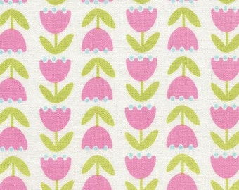 208283 light cream fabric with pink lime green flower by Timeless Treasures