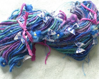Handspun Yarn thick n thin Art Yarn BLUE BUTTERFLY by Fiber Artist Gerry