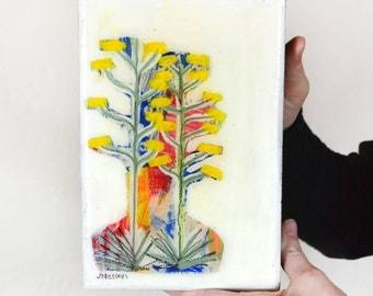 Original abstract desert Century Plant landscape painting on wood panel, Small Wood Block, Southwest Decor