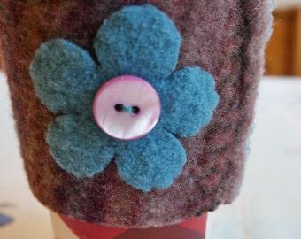 Cup Cozy - Mauve w blue flower and trim