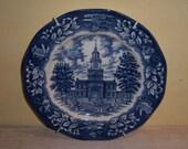 Wedgwood Blue Transfer Plate Philadelphia Pennsylvania Vintage Historical Ironstone