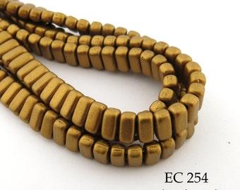 CzechMates 2 Hole Brick Matte Metallic Goldenrod Beads 3x6mm (EC 254) 50 pcs BlueEchoBeads