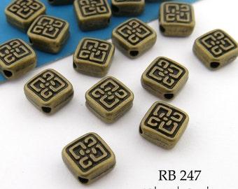 Small 6mm Square Celtic Diamond Antique Brass Bead (RB 247) 25pcs BlueEchoBeads