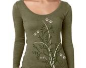 Dragonflies t-shirt, Women's Long Sleeve Graphic tee, Floral Top,  Gift for her, Art T-shirt, Cool t-shirt