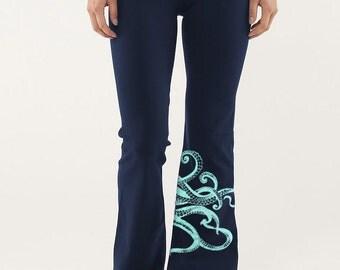 Octopus yoga pants, tentacles, Octopus print, yoga, workout, dance, Kraken, navy blue tights, Gift for Her
