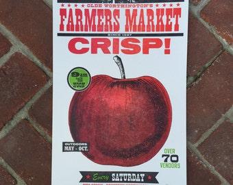 """Farmer's Market """"CRISP"""" Apple Letterpress Poster"""