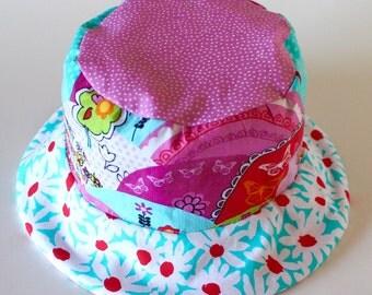 Baby Girl's Bucket Sun Hat, Summer Beach Wear, Red White and Blue Hat