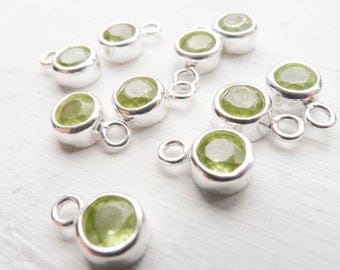 Peridot Charm August Birthstone with Sterling Silver Bezel 4mm Gemstone Pendant (CHSK44)
