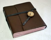NEW Brown Leather Journal with Pink Paper