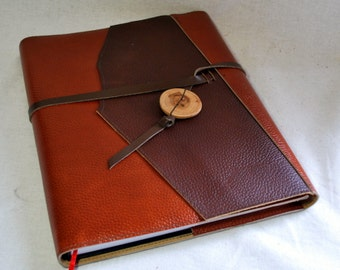 Large Refillable Sketchbook- Orange and Brown Leather with Leather Tie