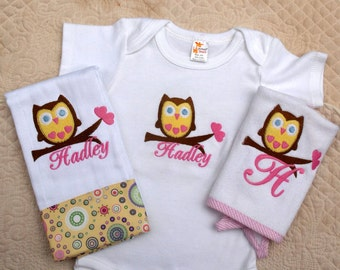Custom Monogrammed Personalized Owl Onesie, Baby Bib and Burp Cloth Set