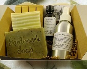 Gardening Gift Set - Gift for Gardener - Mosquito Repellent, Rosemary Soap, Garden Goodies - Bath and Body Set