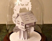 Cabin in a Tree paper sculpture - under a glass dome  NO. 1388