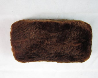 1930s Chocolate Brown Plush Fur Minaudiere Pocket Clutch Etched Brass Frame Silk Lined  Art Deco /
