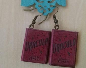 Mini Dracula Book Earrings - Handmade Book Jewelry - Handmade Book Earrings - Mini Bram Stoker Book Jewelry - Handmade Vampire Book Earrings