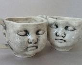 Doll Face Tea Cup - cone 05 earthenwareware doll head teacup