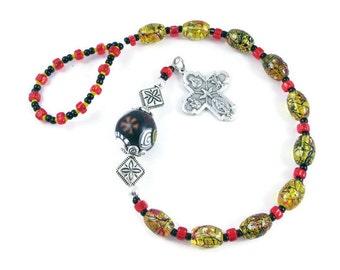 Yellow Oval Bead Catholic One Decade Rosary Chaplet Handmade Prayer Beads Tenner Pewter Cross Everything Else Religious Under 25 Dollars