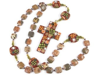 Exotic Safari Jasper Anglican Prayer Beads Protestant Rosary Handmade Polymer Clay Cross and Focal Beads Men Women Spirituality & Religious