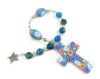 Blue Imperial Jasper Anglican Prayer Beads Chaplet Protestant Rosary Handmade Polymer Clay Focals Butterfly Charm Gift Under 30 Dollars