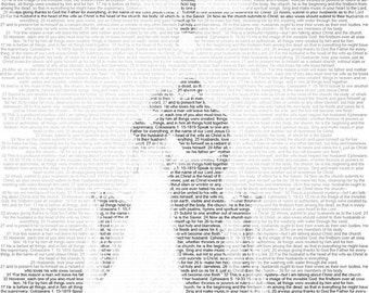 Unique gift made of image and words: Personalized custom Portrait filled with type
