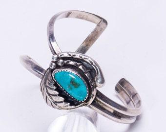 Navajo Asymmetrical Kingman Turquoise Sterling Cuff - Bracelet 70s - Best Buy