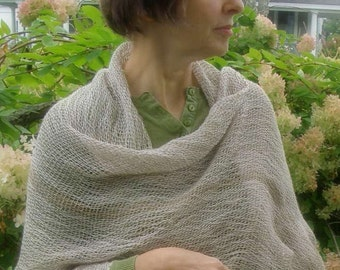 Natural shawl wrap hand dyed wool and cotton  grey 24 x 72  hemmed  handwoven earthy