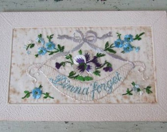 Dinna Forget  WW1 Embroidered Postcard - Handmade by Belgian/French Women for Men to Send Back To Their Loved Ones From the Trenches