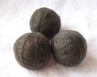 Set of 3 dryer balls 100% wool dark green