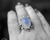 Statement Moonstone  sterling silver ring -Orbital Series -