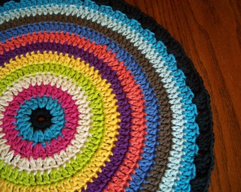Mandala, For Table Top, Table Runner, Centerpiece, Rainbow Colors, Crocheted Cotton Yarn