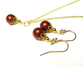 SALE, Red Bordeaux Pearl Bridesmaid Set, Swarovski Necklace Earrings Set, 14k Gold Filled Jewelry Set, Gift For Mom