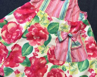 Reversible pink floral  cotton dress sizes 5-8 years
