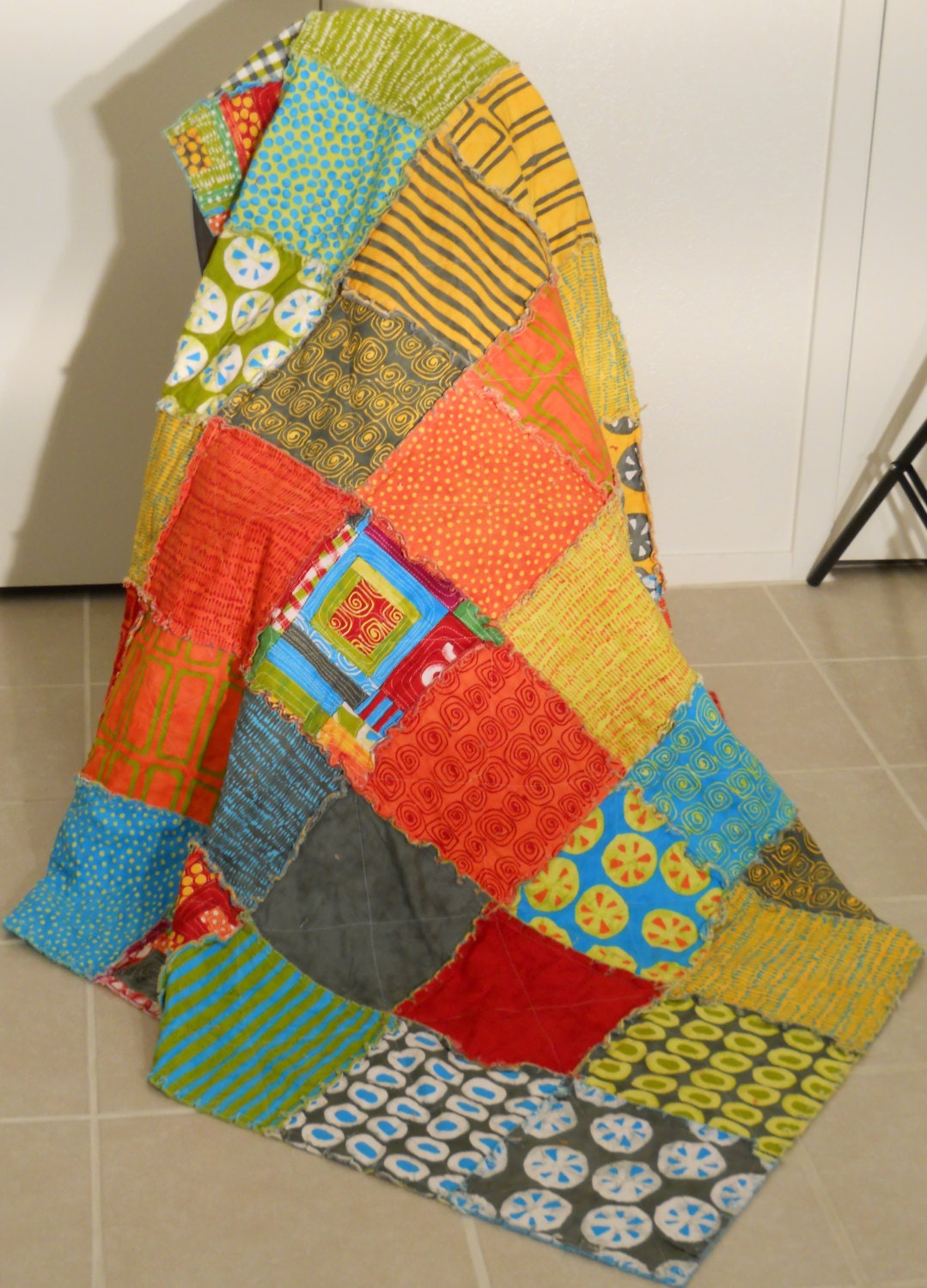 Rag Quilt Patterns For Twin Bed : Twin Size Rag Quilt / Modern Fabric Rag Quilt / Twin Quilt