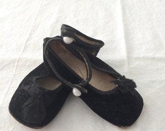 Tiny Vintage Black Velvet Baby Shoes