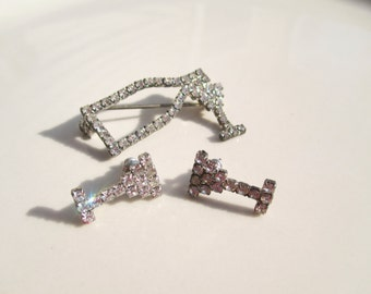 Gin Bottle and Martini Glass Brooch and Earring set Vintage Rhinestone Antique
