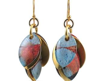 Custom Handcrafted Indigo Orange Everyday Dangle Earrings