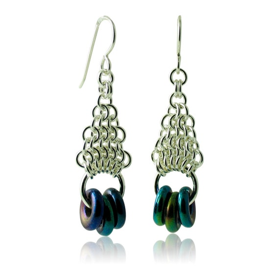 Blue Iris Geometric Earrings with Sterling Silver Hand-Woven Chain Work Custom Handcrafted