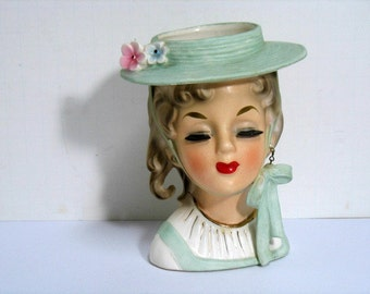 Vintage Headvase Lady w/ Hat Velco 3748 Excellent Condition Head Vase Woman Flower Hat