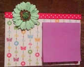 Cute Post-it Note Holder, with Flower Embellishments, Great teacher college student gift