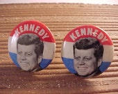 Cuff Links John F Kennedy Campaign Button Recycled Repurposed Free Shipping to USA