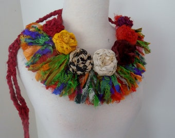 flower necklace recycled silk necklace boho flower rose necklace statement bib fiber art necklace