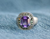 Emerald Cut Purple Stone Amethyst Ring Marcasites Fiery Size 7