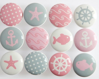 Pink Nautical Knobs, Pink and Gray Nautical Drawer Knobs, Girl's Nautical Knobs - 1 1/2 Inches - Made-to-Order
