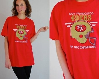 SALE SALE SAN Francisco 49ers Vintage Red 1981 San Francisco 49ers Nfc Champions Football T Shirt (one size)