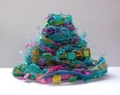 belly dancer fiber effects™  12yds novelty art yarn bundle ribbon embellishment textile fiber art sample pack . turquoise pink yellow