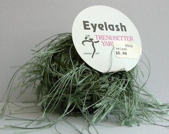 trendsetter eyelash yarn . sage . 73yds . moss green fluttery extra long eyelash fun fur novelty carry along yarn . new destash